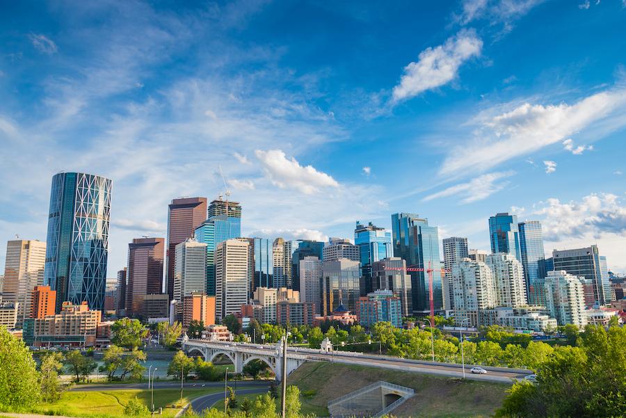 The skyline of Calgary in Alberta, Canada.