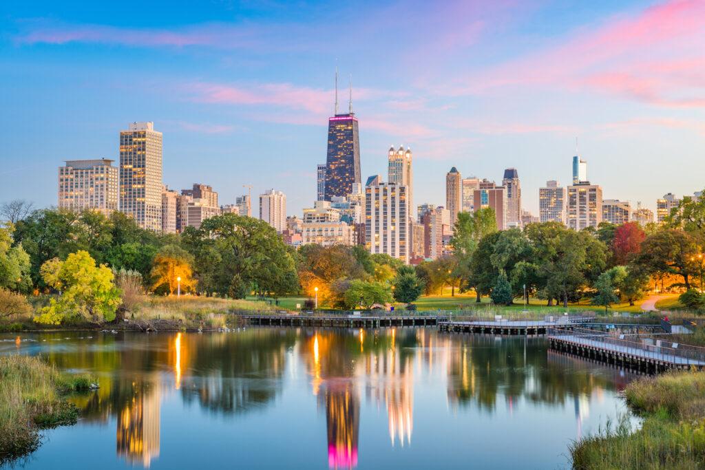 The skyline of Chicago, Illinois.