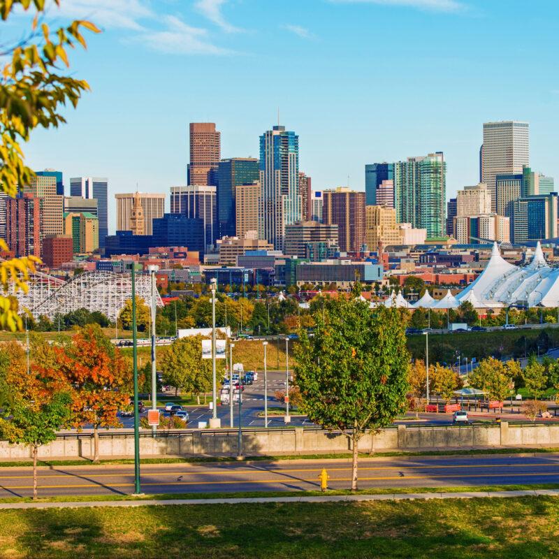 The skyline of Denver, Colorado.