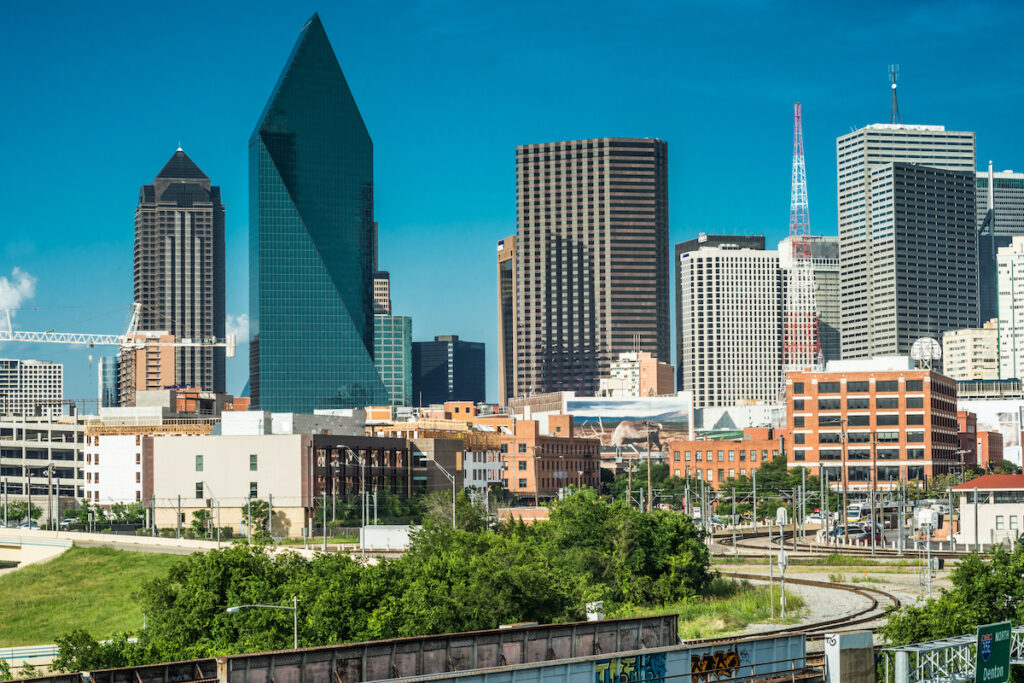 The skyline of downtown Dallas, Texas.