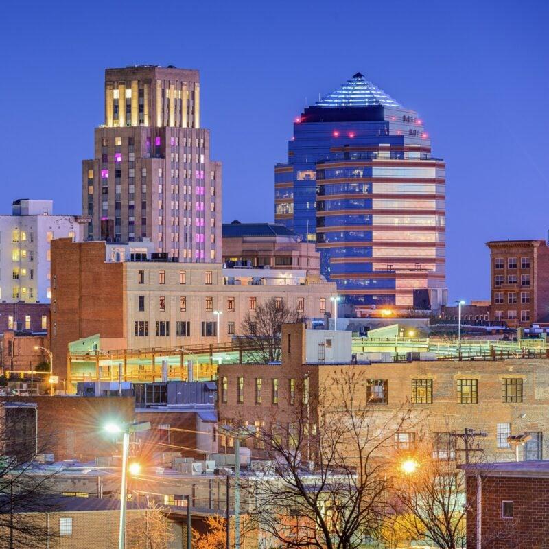 The skyline of Durham, North Carolina.