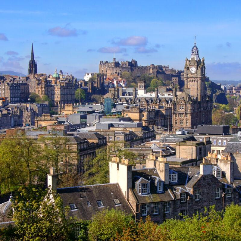 The skyline of Edinburgh, Scotland.