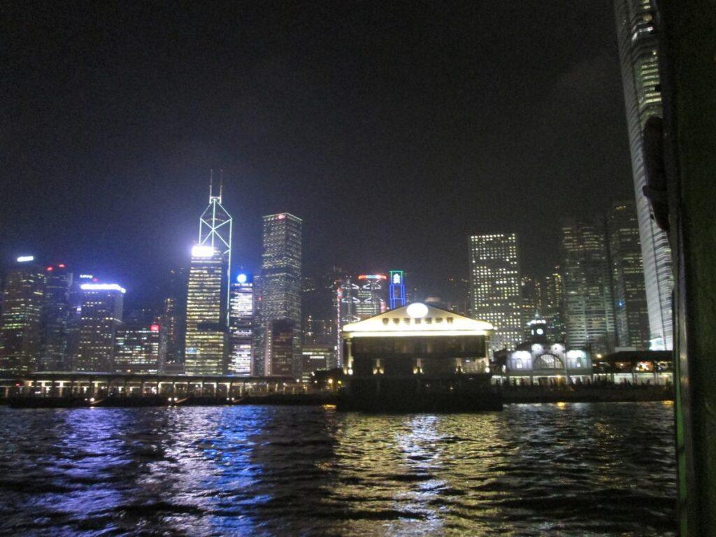 The skyline of Hong Kong at nighttime.