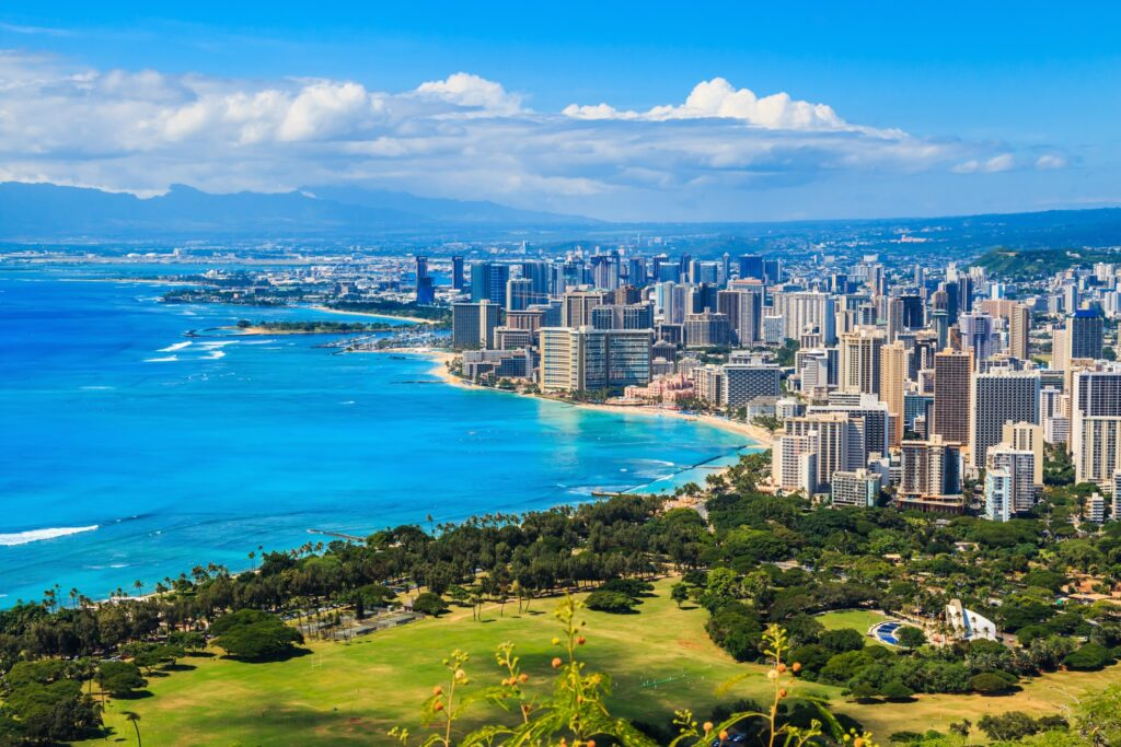 The skyline of Honolulu, Hawaii.
