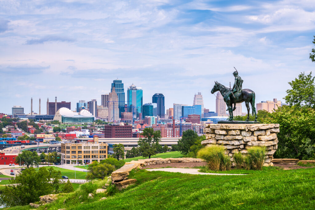 The skyline of Kansas City, Missouri.