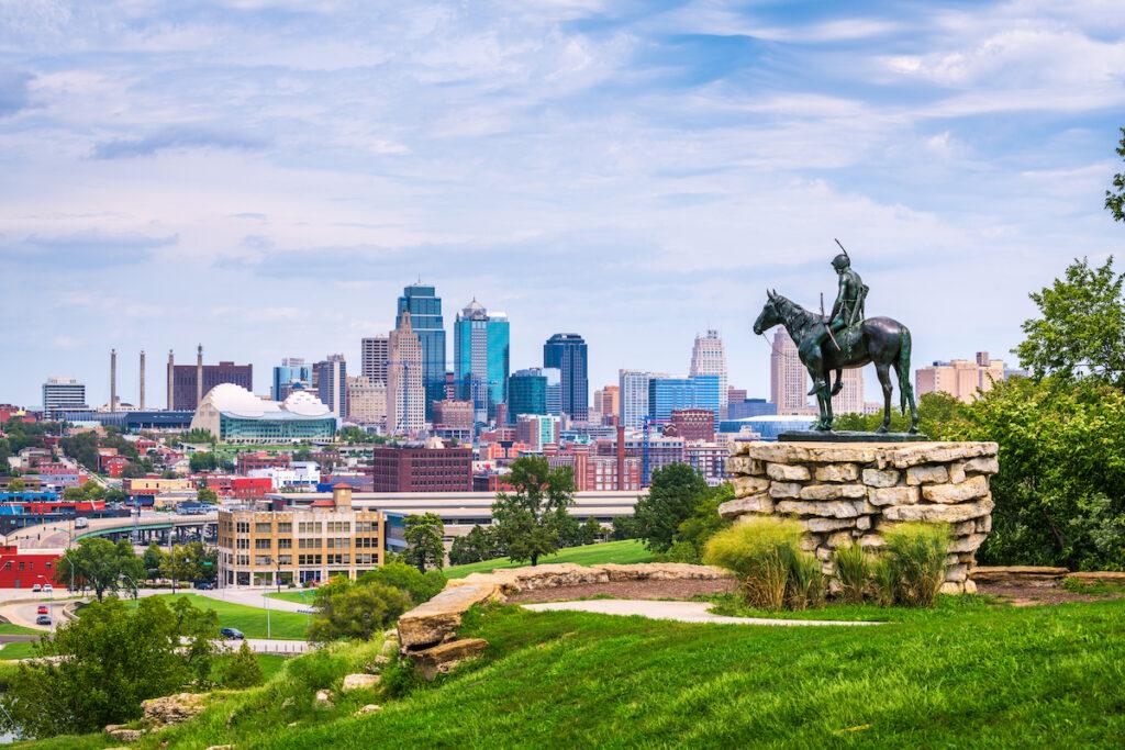 The skyline of Kansas City, Missouri.