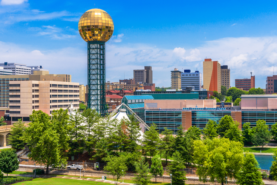 The skyline of Knoxville, Tennessee.