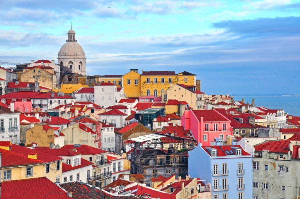 The skyline of Lisbon, Portugal.