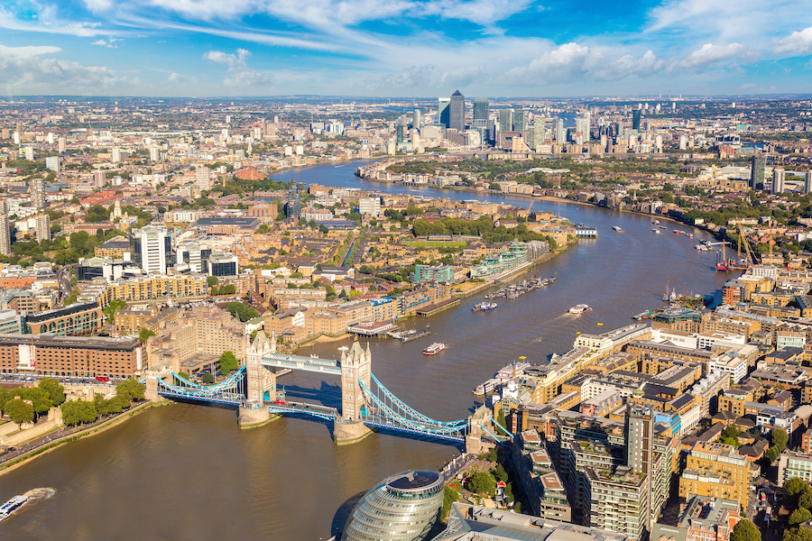 The skyline of London along the River Thames.