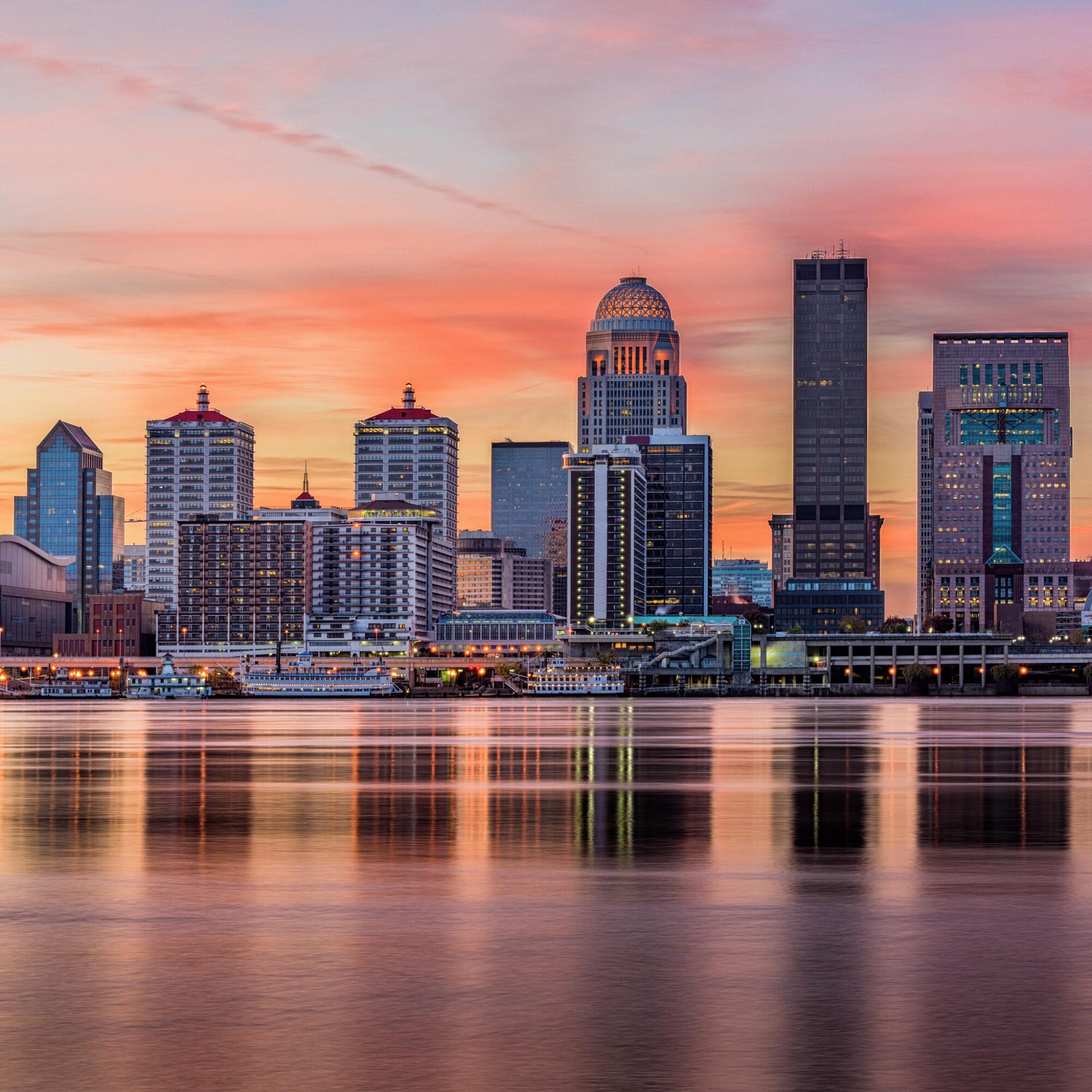 The skyline of Louisville, Kentucky, at sunset.