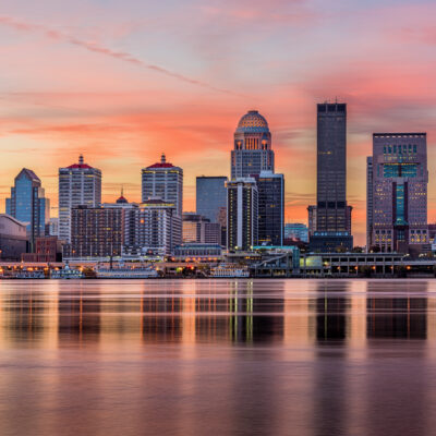 The skyline of Louisville, Kentucky, at sunset.