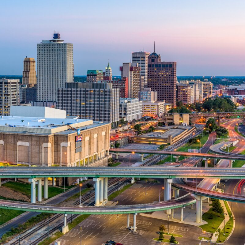 The skyline of Memphis, Tennessee.