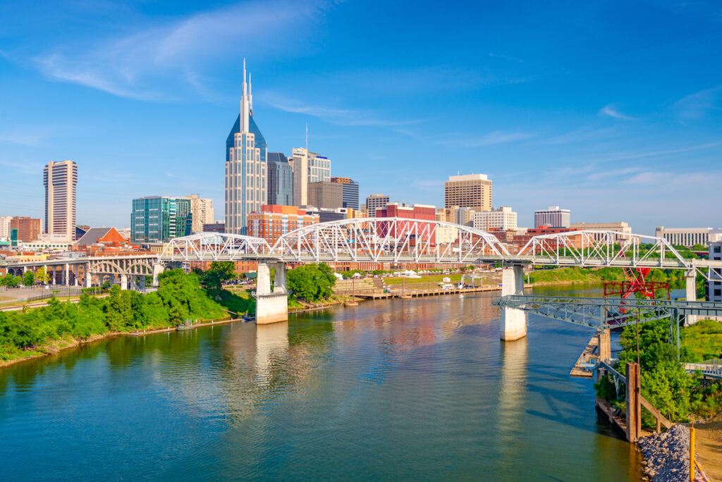 The skyline of Nashville, Tennessee.