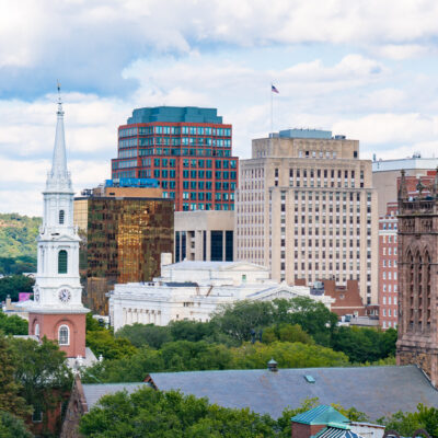 The skyline of New Haven, Connecticut.