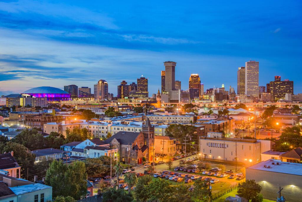 The skyline of New Orleans, Louisiana.