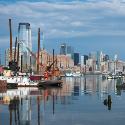 The skyline of New York City from the Morris Canal in Jersey City.