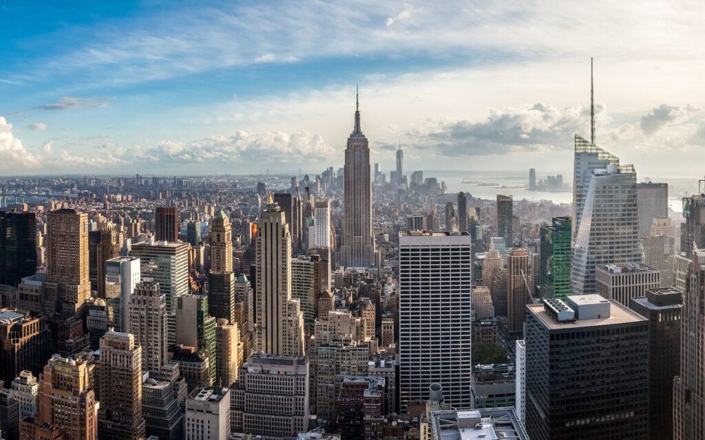 The skyline of New York City.