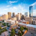 The skyline of Oklahoma City, Oklahoma.