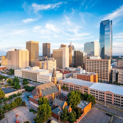 The skyline of Oklahoma City, Oklahoma.