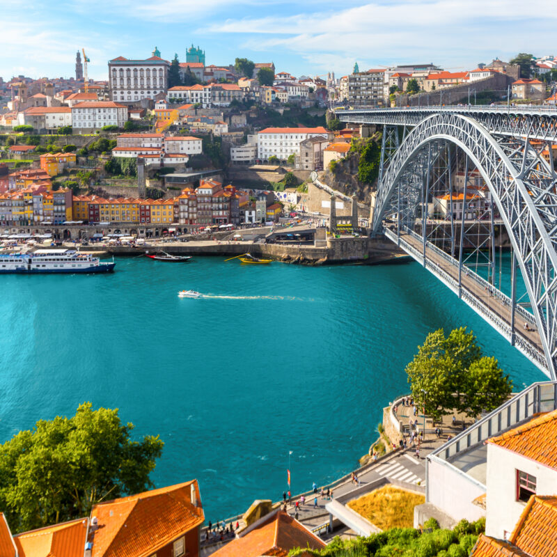 The skyline of old town Porto, Portugal.