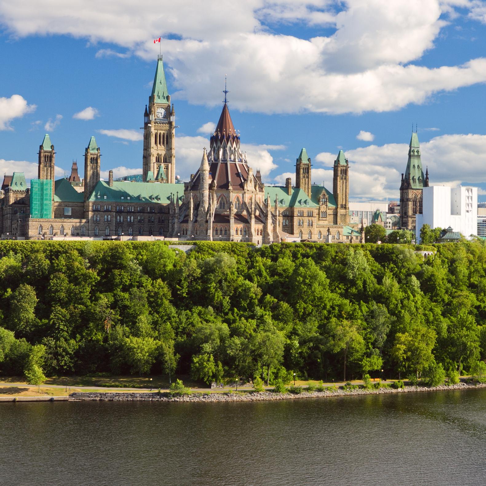 The skyline of Ottawa, Canada.