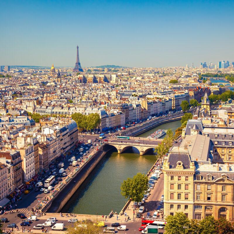 The skyline of Paris, France.