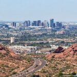 The skyline of Phoenix, Arizona.