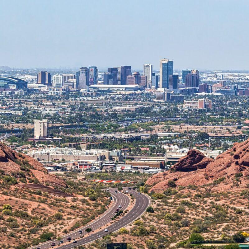 The skyline of Phoenix, Arizona.