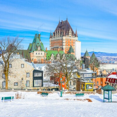 The skyline of Quebec City, Canada, during winter.