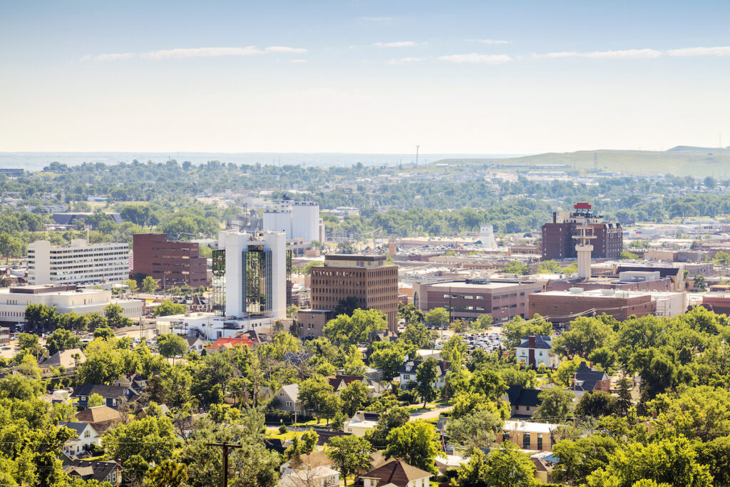 The skyline of Rapid City, South Dakota.