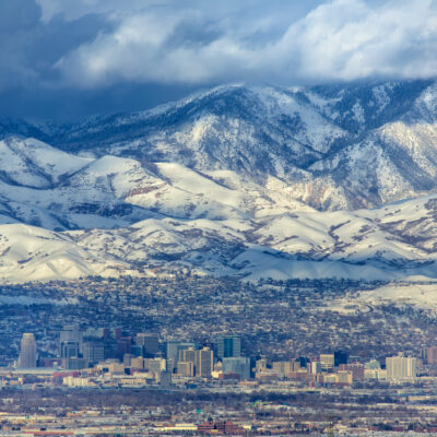 The skyline of Salt Lake City, Utah.