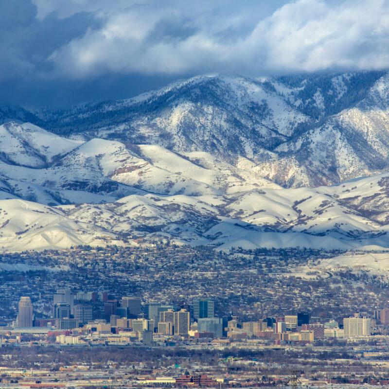 The skyline of Salt Lake City, Utah.