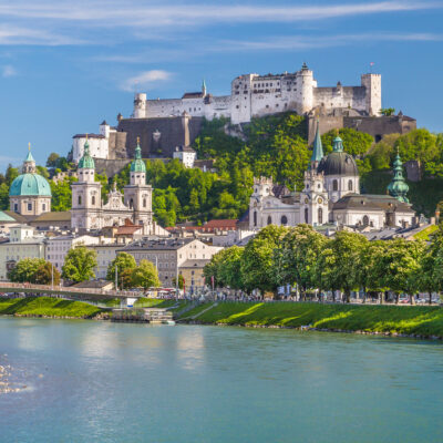 The skyline of Salzburg, Austria.