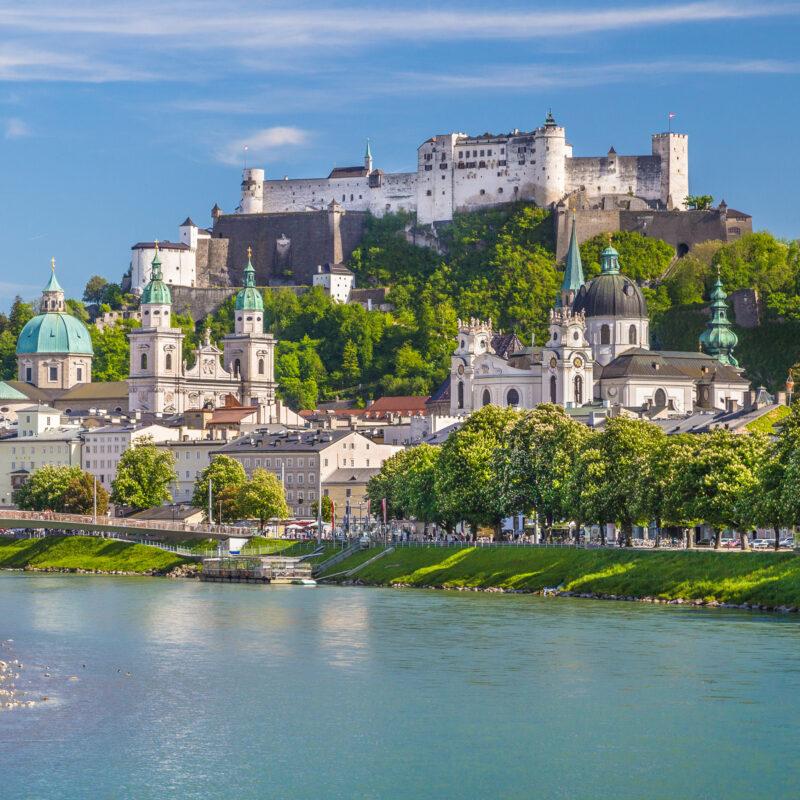 The skyline of Salzburg, Austria.