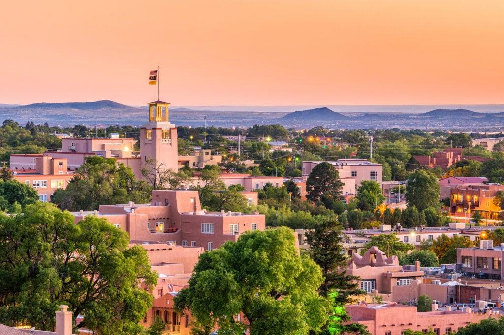 The skyline of Santa Fe, New Mexico.