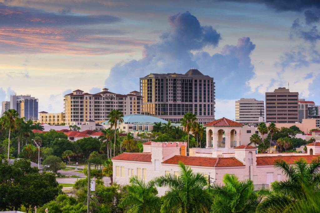 The skyline of Sarasota, Florida.