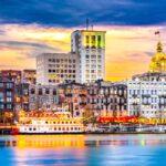 The skyline of Savannah, Georgia.