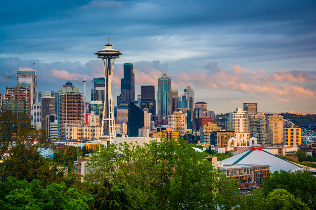 The skyline of Seattle, Washington.