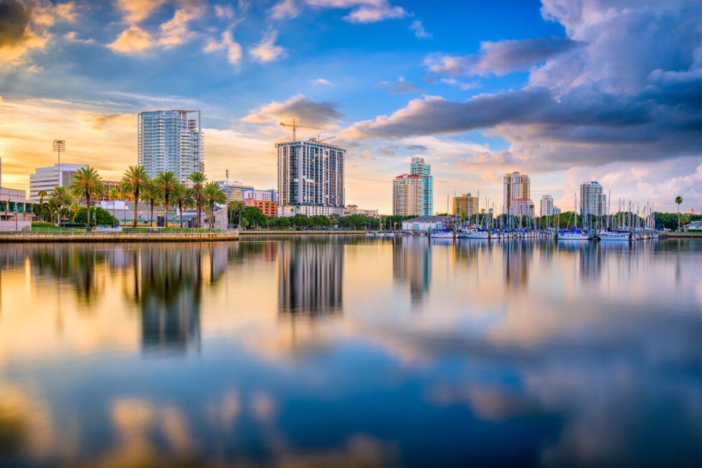 The skyline of St. Petersburg, Florida.