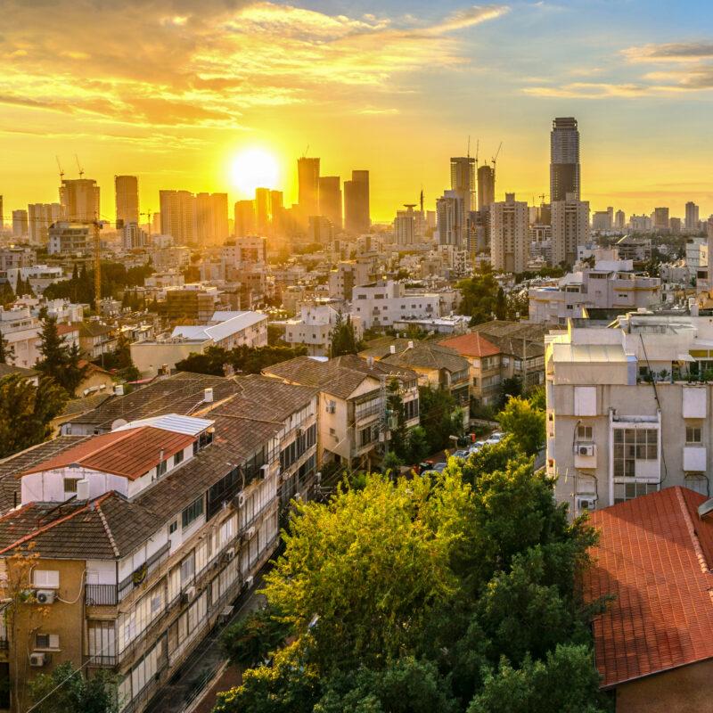 The skyline of Tel Aviv at sunset.