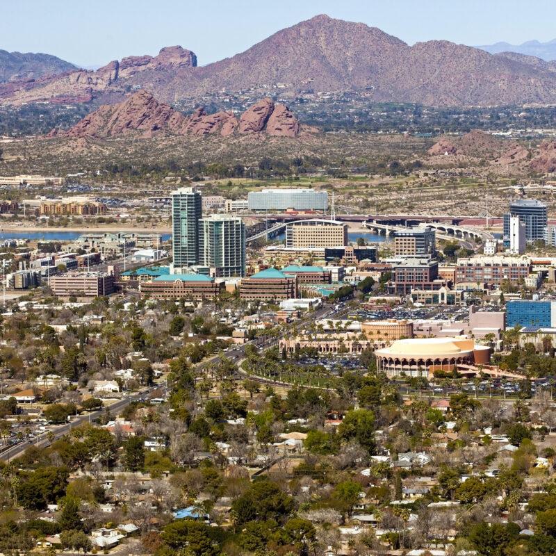 The skyline of Tempe, Arizona.