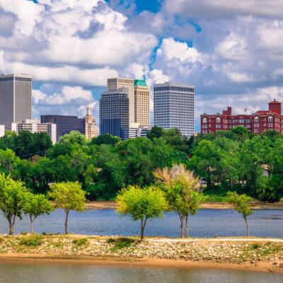 The skyline of Tulsa, Oklahoma.