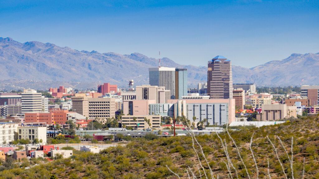 The skyline of Tuscon, Arizona.