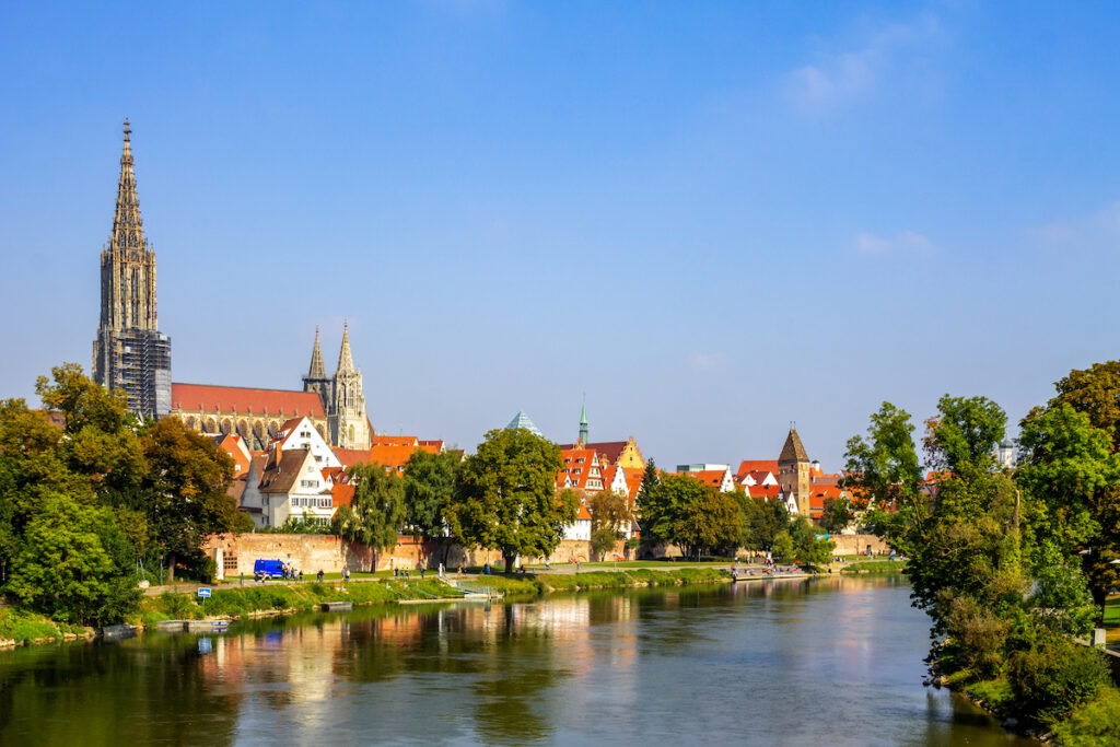 The skyline of Ulm, a medieval town in Germany.