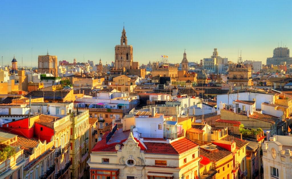 The skyline of Valencia, Spain.