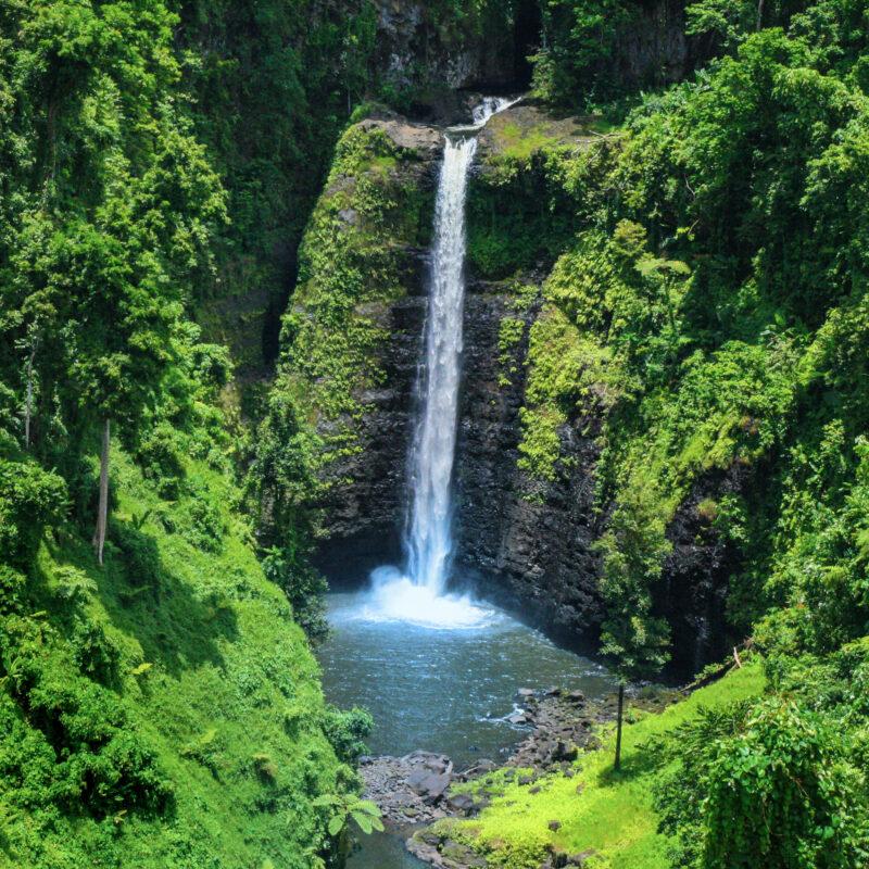 The Sopoaga waterfall in Samoa.