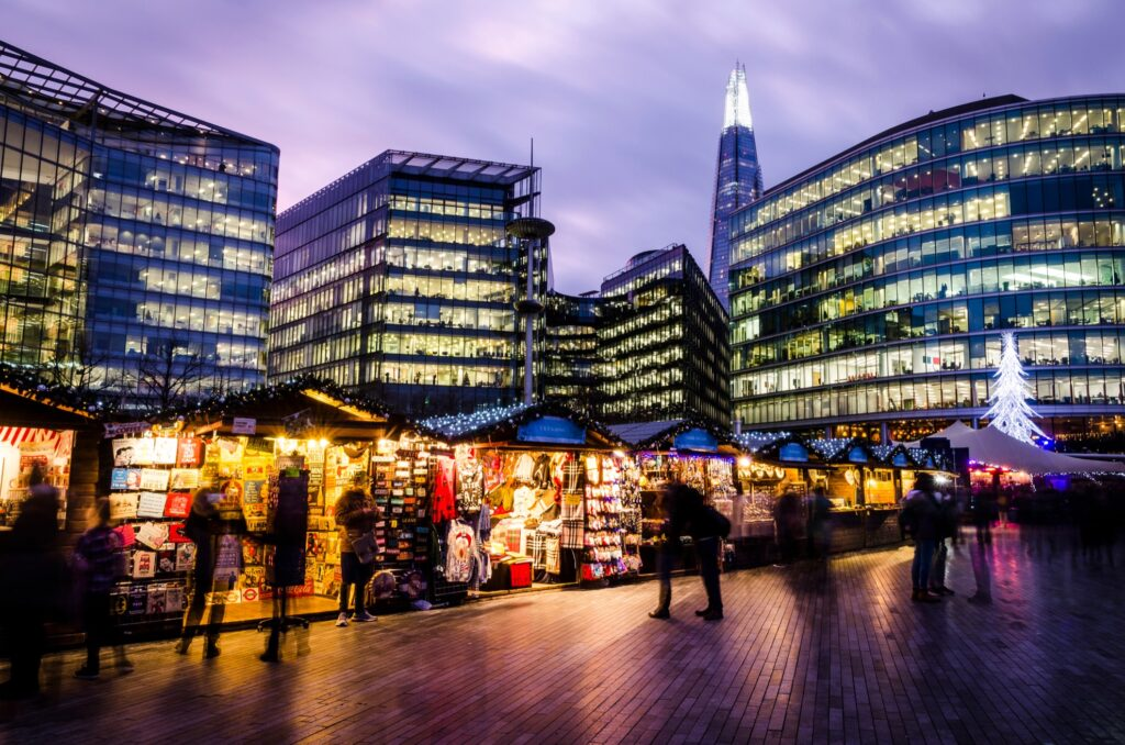 The Southbank Christmas Market in London.