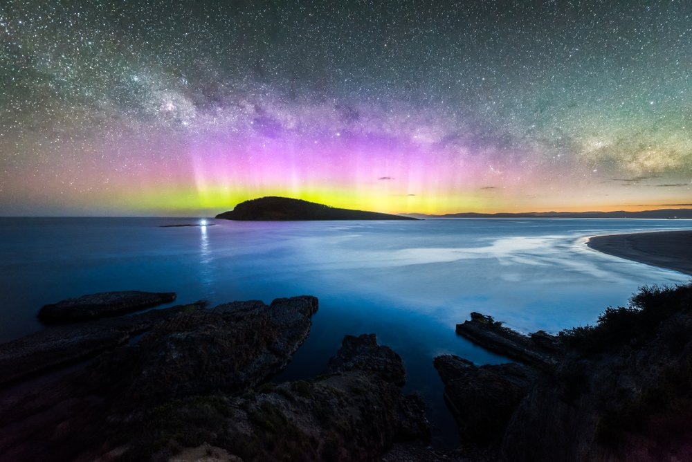 The southern lights over Betsey Island.