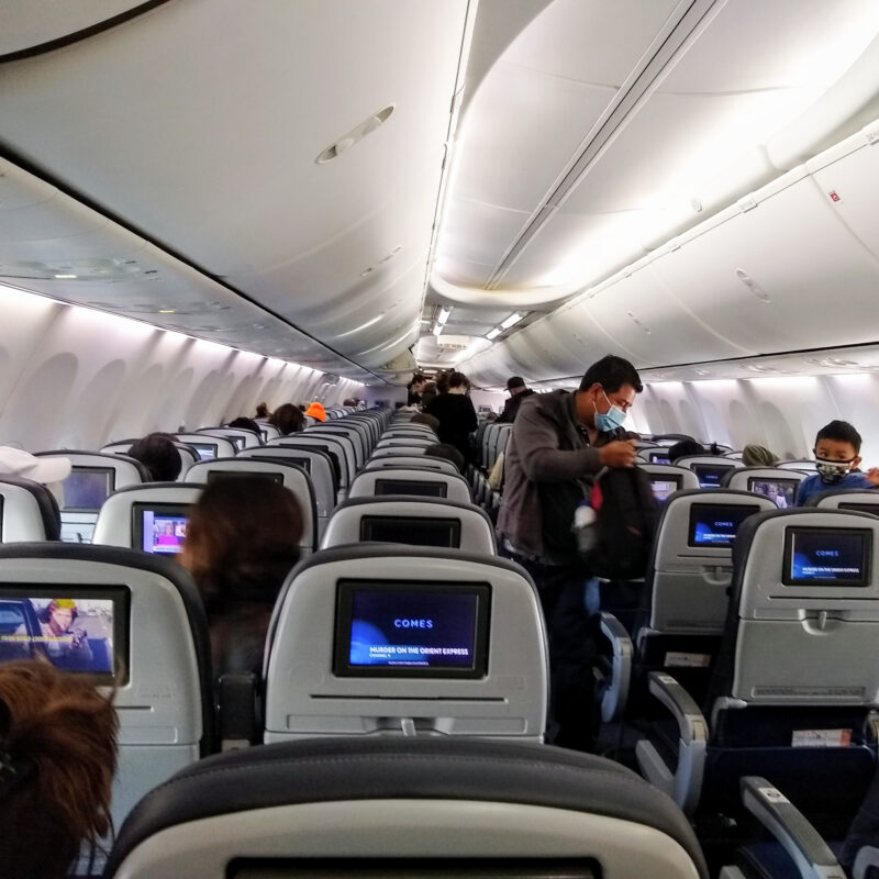 The sparse crowd on board the writer's plane to Mexico.