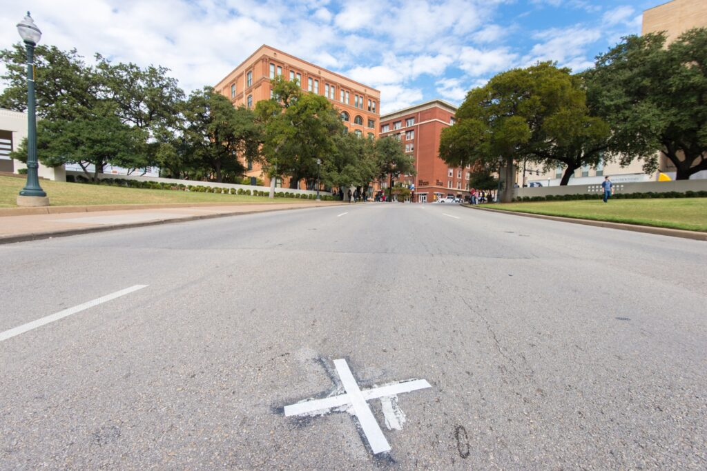The spot where John F. Kennedy was assassinated.